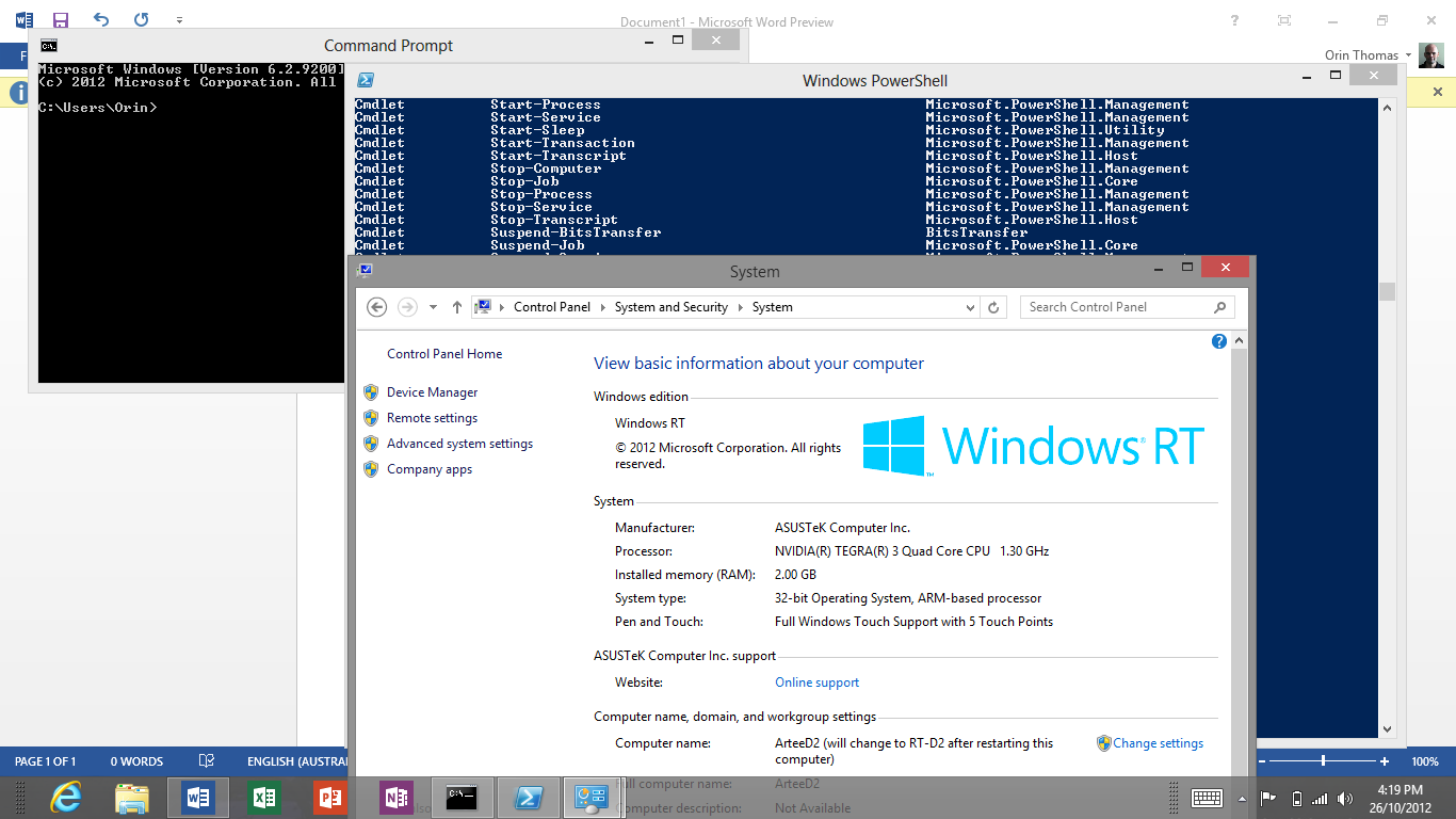 Windows rt has powershell and command prompts and feels for Windows windows